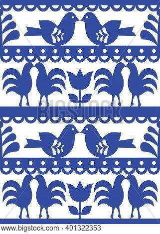 Seamless Floral Polish Folk Art Pattern Wycinanki Kurpiowskie - Kurpie Paper Cutout Design With Flow