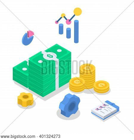 Accounting Isometric Color Vector Illustration. Financial Audit. Budget Management. Business Strateg