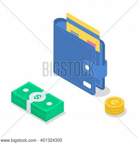 Salary Payment Isometric Color Vector Illustration. Accounting And Audit. Saving Money. Revenue Incr