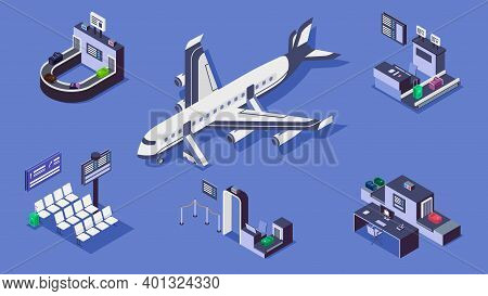 Airport Isometric Color Vector Illustrations Set. Luggage Belt, Commercial Airplane And Security Che