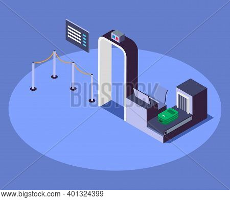 Airport Security Checkpoint Isometric Color Vector Illustration. Airline Company Safety Measure 3d C