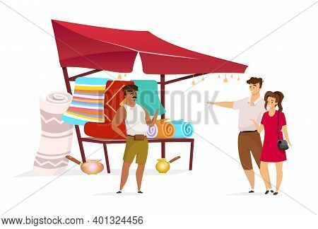 Couple Choosing Persian Carpet Flat Color Vector Faceless Character. Istanbul Marketplace. Eastern B