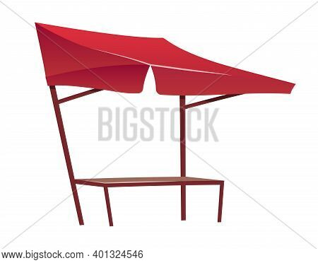 Eastern Bazaar Empty Red Tent Cartoon Vector Illustration. Blank Summer Fair, Marketplace Counter, T