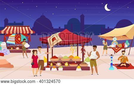 Turkish Night Market Flat Color Vector Illustration. Arabic Bazaar, Street Fair. Tourists, Foreigner