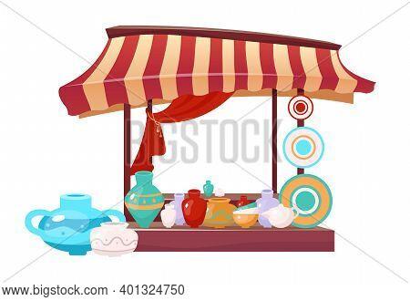 Bazaar Awning With Handmade Ceramics Cartoon Vector Illustration. Eastern Marketplace Tent Flat Colo