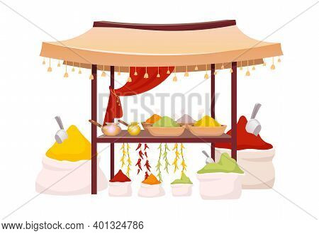 Indian Bazaar Tent With And Herbs Cartoon Vector Illustration. Eastern Market Awning With Exotic Sea