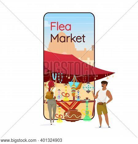 Flea Market Cartoon Smartphone Vector App Screen. Bazaar, Eastern Fair Advertising. Mobile Phone Dis