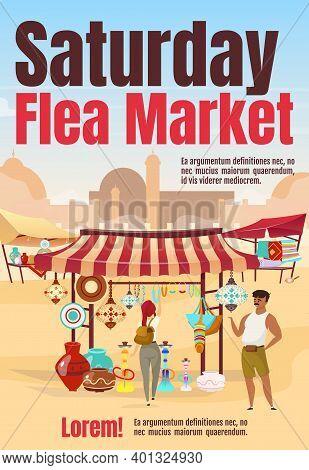 Saturday Flea Market Poster Flat Vector Template. Oriental Marketplace With Souvenirs. Brochure, Cov