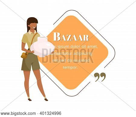 Tourist At Bazaar Flat Color Vector Character Quote. Eastern Souk, Fair, Exotic Market Advertising.