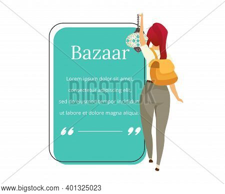 Bazaar Buyer Flat Color Vector Character Quote. Eastern Marketplace, Fair, Souvenirs For Tourist Adv
