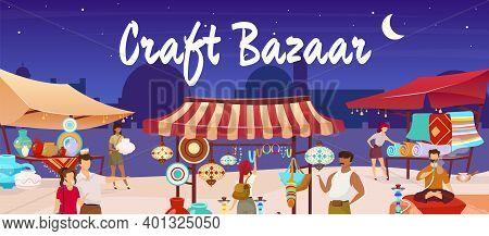 Craft Bazaar Flat Color Vector Illustration. Egypt Marketplace. Eastern Market With Souvenirs, Carpe