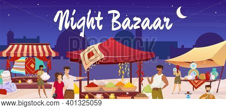 Turkish Night Bazaar Flat Color Vector Illustration. Muslim Souk. Istanbul Marketplace With Tourist