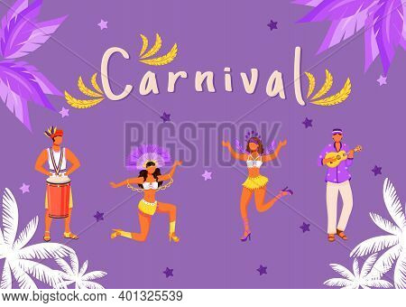 Carnival Banner Flat Vector Template. Horizontal Poster With Concepts Design. Brazilian Parade. Men