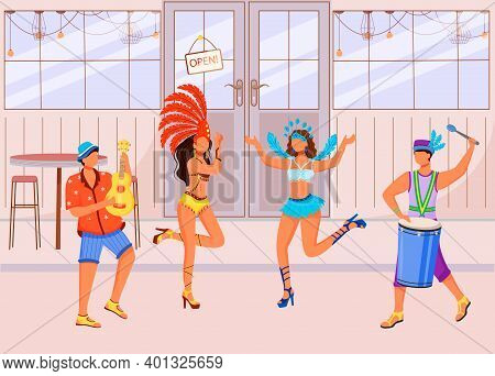 Brazilian Carnival Flat Color Vector Illustration. Dancing Women In Festive Clothing. Ethnic Holiday