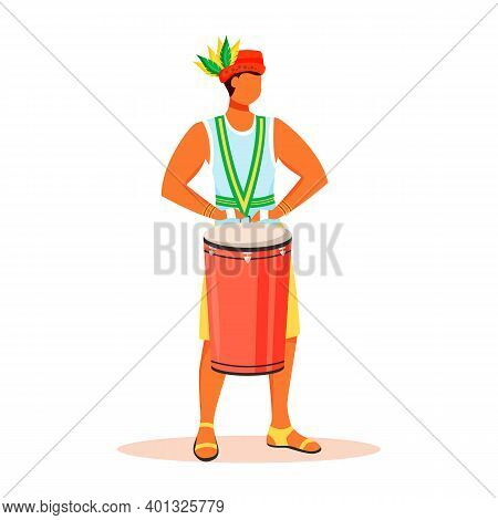 Latino Man In Singlet And Hat Flat Color Vector Faceless Character. Brazil Carnival. Samba Music. St