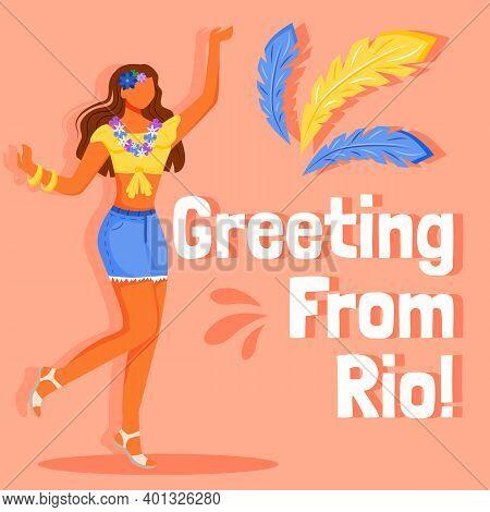 Brazil Carnival Social Media Post Mockup. Greeting From Rio Phrase. Web Banner Design Template. Fema