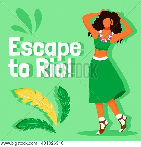 Brazilian Carnival Social Media Post Mockup. Escape To Rio Phrase. Web Banner Design Template. Exoti