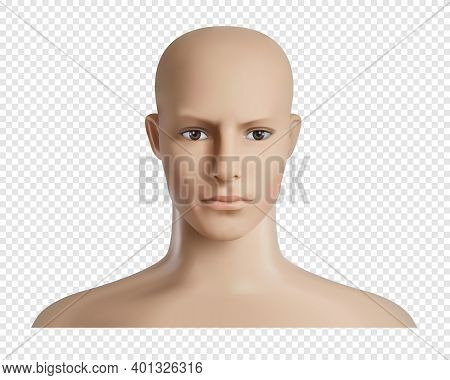 Vector 3d Human Model With Face, Feamale Or Male Head Mockup. Realistic Dummy, Mannequin Head. Trans
