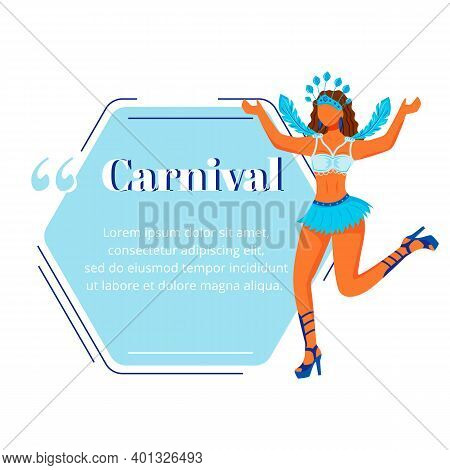 Carnival Flat Color Vector Character Quote. Traditional Celebration. Woman In Carnaval Clothing. Bra