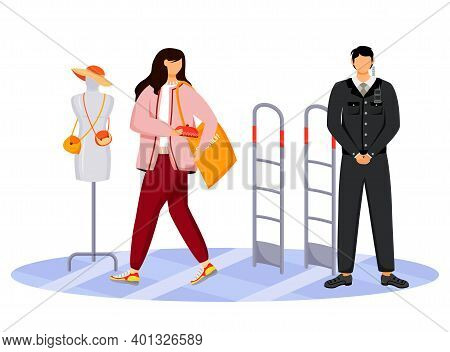 Shoplifting Flat Color Vector Faceless Character. Kleptomania. Store Theft. Woman Stealing Purse Fro