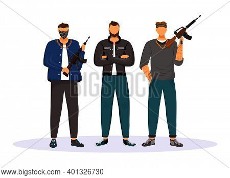 Criminal Gang Flat Color Vector Faceless Character. Group Of Gangsters, Armed Terrorists. Mob, Syndi