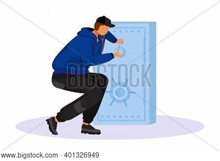 Thief Breaking Into Safe Flat Color Vector Faceless Character. Safecracker, Safebreaker. Cracksman W