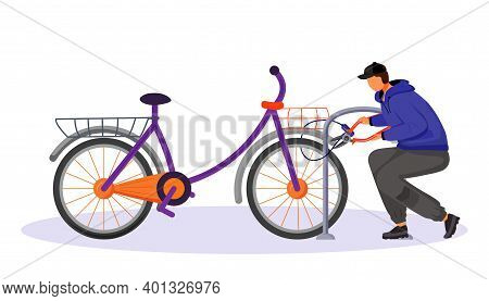 Guy Stealing Bicycle Attached To Bike Rack Flat Color Vector Faceless Character. Bike Theft. Thief C
