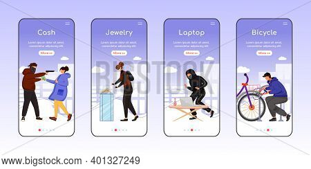 Property Theft Onboarding Mobile App Screen Flat Vector Template. Cash, Jewelry. Laptop, Bicycle. Wa