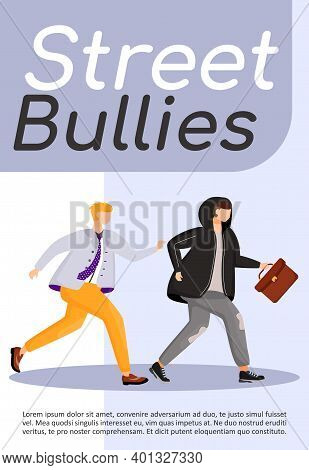 Street Bullies Poster Flat Vector Template. Man Chasing Thief. Robber Stealing Briefcase. Robbery, B