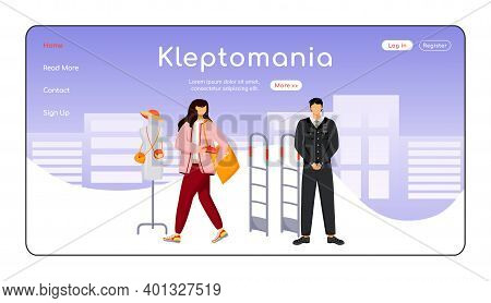 Kleptomania Landing Page Flat Color Vector Template. Shoplifting. Store Theft. Criminal Activity. Ho