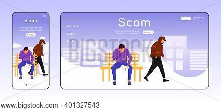 Scam Adaptive Landing Page Flat Color Vector Template. Blackmailing Mobile And Pc Homepage Layout. L