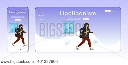 Hooliganism Adaptive Landing Page Flat Color Vector Template. Guy With Baseball Bat. Vandalism Mobil