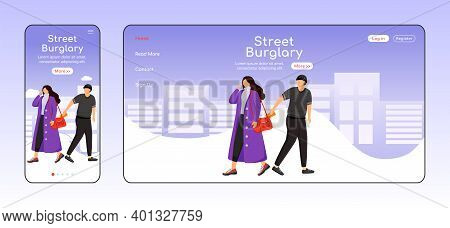 Street Burglary Adaptive Landing Page Flat Color Vector Template. Man Stealing Wallet From Womans Ba