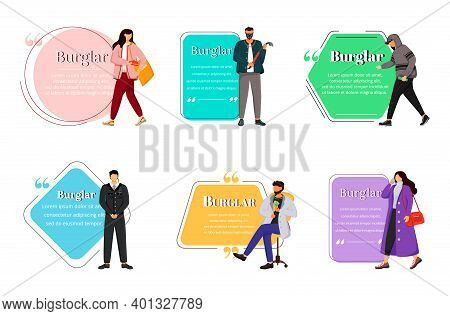 Burglary Flat Color Vector Character Quote. Burglars, Robbers, Criminals. Thieves, Security Guard. C