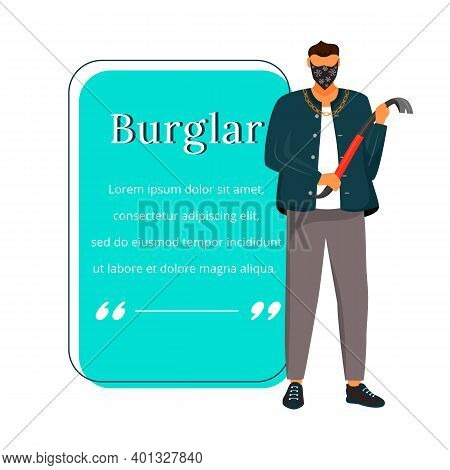 Burglar With Crowbar Flat Color Vector Character Quote. House Intruder. Criminal. Masked Robber. Cit