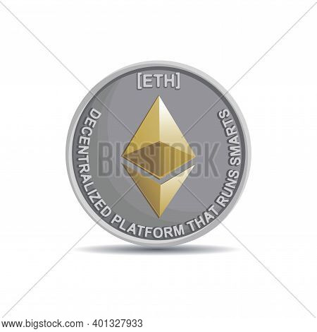 Ethereum. Crypto Currency Coin Icon, Symbol Isolated On White Background. Use For Logos, Print Produ