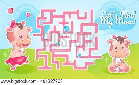 Lets Find My Mom Labyrinth With Cartoon Character Template. Animal Searching For Child Find Path Maz