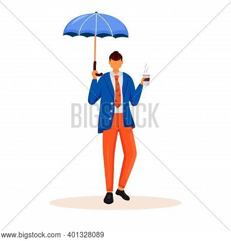 Businessman With Umbrella Flat Color Vector Faceless Character. Caucasian Man Standing With Cup Of C