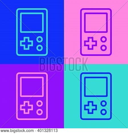 Pop Art Line Portable Tetris Electronic Game Icon Isolated On Color Background. Vintage Style Pocket