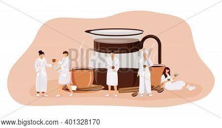 Morning Coffee Flat Concept Vector Illustration. Drinking Americano. Espresso In Glass Pot. Black Te