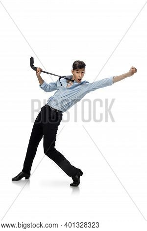 Celebrity. Happy Young Man Dancing In Casual Clothes Or Suit, Remaking Legendary Moves And Dances Of