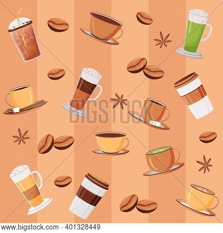 Coffee Mugs Flat Vector Seamless Pattern. Matcha Latte. Caramel Macchiato. Striped Beige Background.
