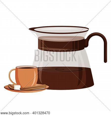 Morning Drink Cartoon Vector Illustration. Coffeeshop Drink. Espresso With Sugar And Cinnamon. Cafet