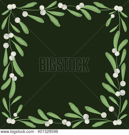 Vector Background With White Mistletoe On Dark Green Background; For Greeting Cards, Invitations, Po