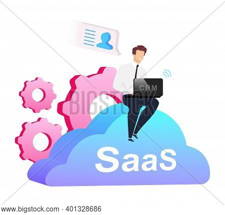 Cloud Based Crm Flat Concept Vector Illustration. Man With Laptop Sitting On Cumulus 2d Cartoon Char