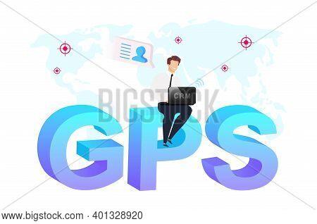 Geolocation Technology Flat Concept Vector Illustration. Businessman Sitting On Word Gps 2d Cartoon