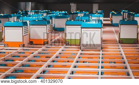interior of a warehouse with automated logistics. 3d render.