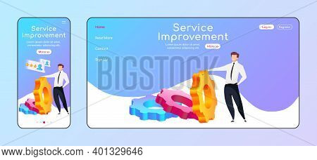Service Improvement Adaptive Landing Page Flat Color Vector Template. High Rating Mobile And Pc Home