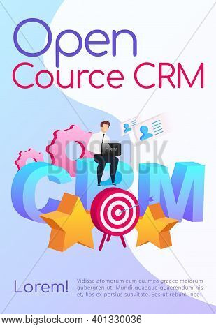 Open Source Crm Poster Flat Vector Template. Company Customization. Brochure, Booklet One Page Conce