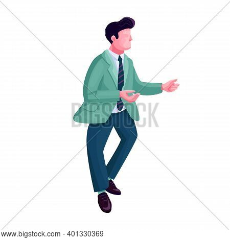 Man Dancing Twist Flat Color Vector Faceless Character. Stylish Guy In Retro Costume. Male At Retro
